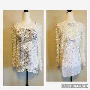 Joseph Ribkoff Tunic Top Print Lace Size 8 Women's